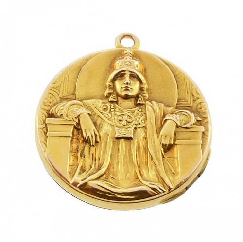 Art Nouveau Empress Theodora 14K Gold Locket
