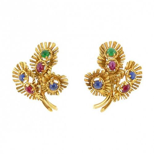 18K Gold, Ruby, Sapphire & Emerald Cabochon Earrings