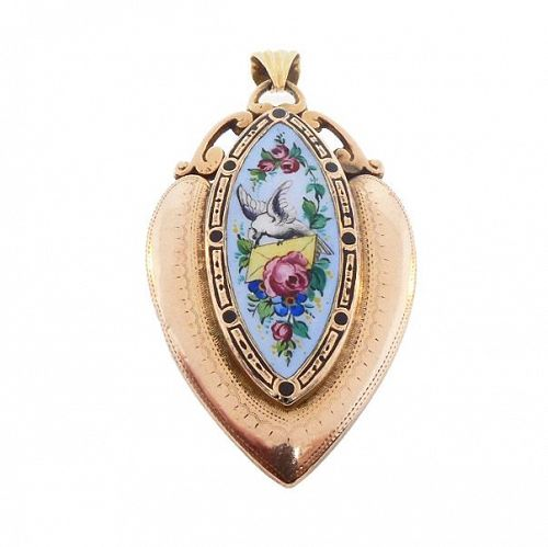 Victorian 18K Gold & Enamel Love Token Heart Locket