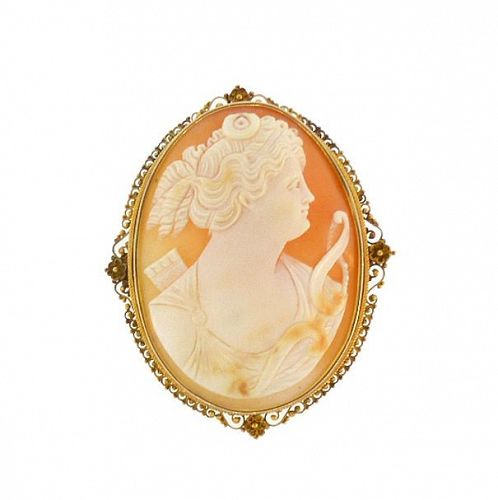 Victorian Etruscan 12K Gold Diana / Artemis Shell Cameo Pendant & Pin