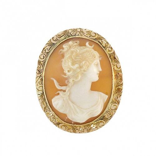 Victorian 10K Gold Diana / Artemis Shell Cameo Pendant & Brooch