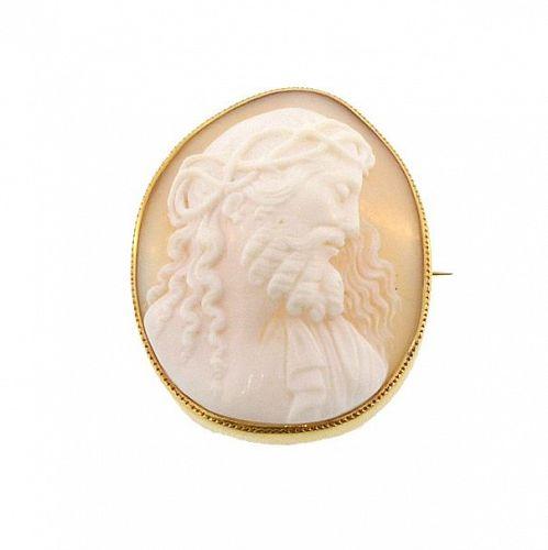 Victorian 18K Gold Jesus Shell Cameo Brooch