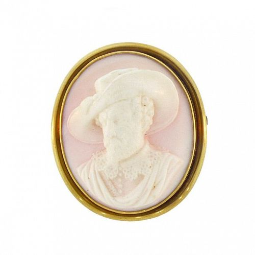 Victorian 18K Gold & Angel Skin Coral Male Portrait Cameo Pin