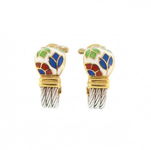 Fred Of Paris 18K Gold Steel Enamel FORCE 10 Earrings
