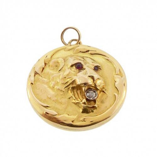 Art Nouveau 14K Gold Diamond & Ruby Lion Locket