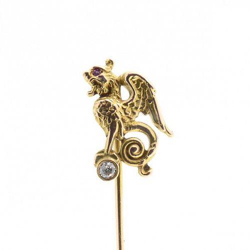 Riker 14K Gold Diamond & Ruby Mythological Griffin Stick Pin