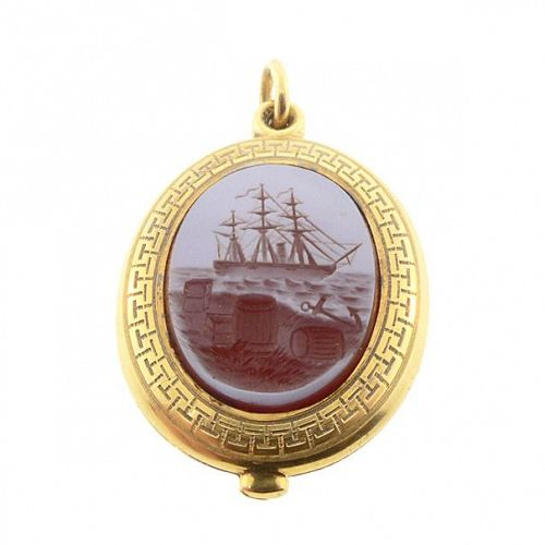 Victorian 18K Gold & Sardonyx Intaglio Ship Locket