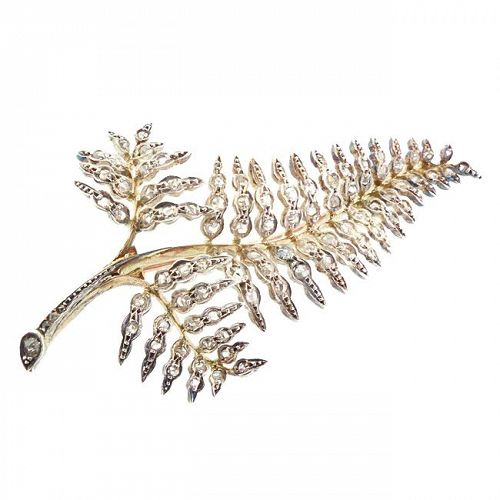 18K Gold, Silver & Diamond French Second Empire Fern Brooch