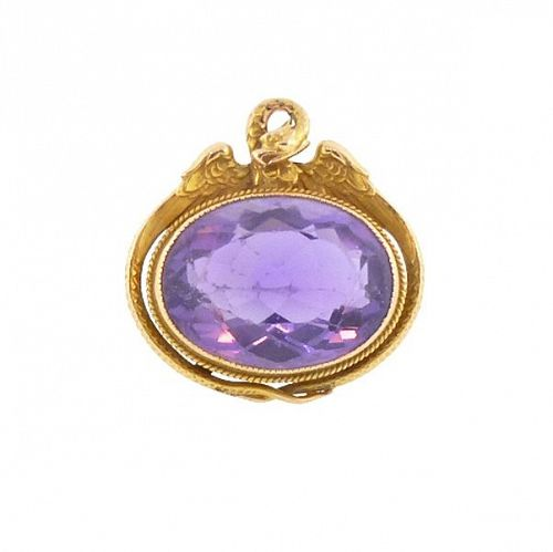 Victorian 14K Gold & Amethyst Dragon Watch Fob / Pendant