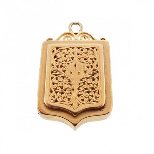 French 18K Gold Victorian Perfume Locket -  Vinaigrette