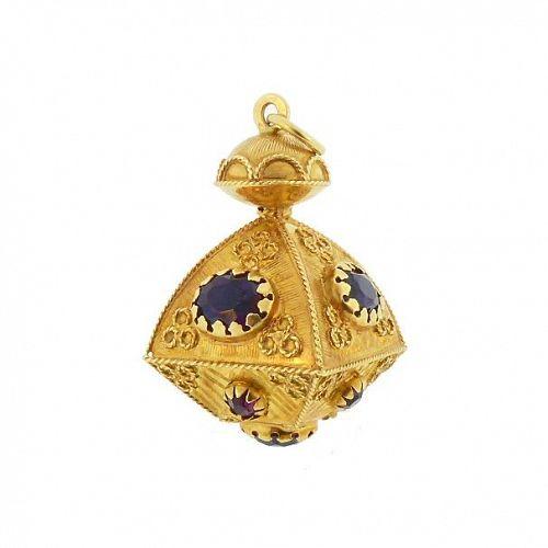 Venetian Etruscan 18K Gold & Amethyst Fob Charm
