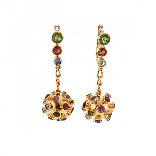 H Stern Sputnik 18K Gold & Multi-Stone Dangle Earrings