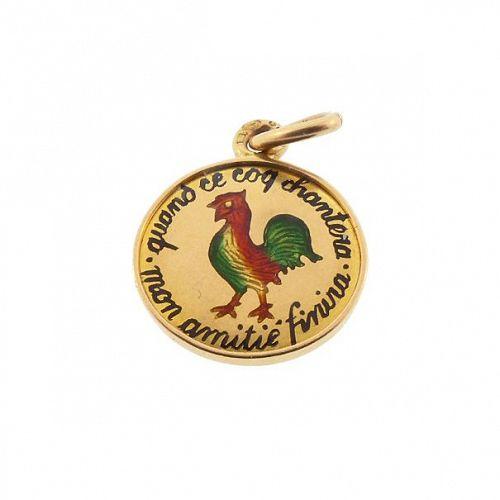 Imperial Austrian French 18K Enamel Rooster Love Token Charm / Pendant