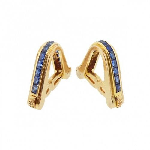 Art Deco Olga Tritt French 18K Gold & Blue Sapphire Stirrup Cufflinks