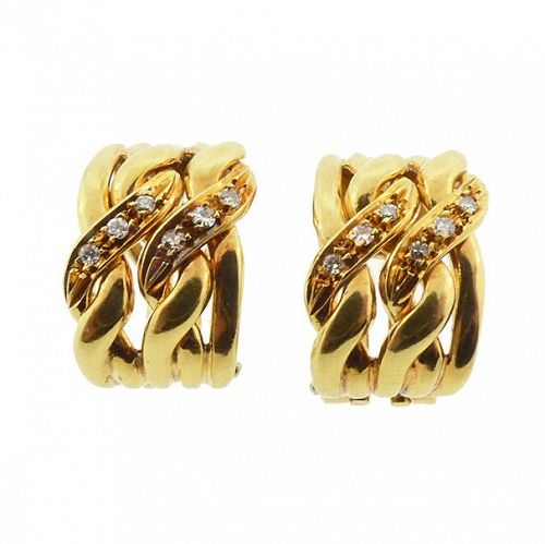 Vintage Gucci 18K Yellow Gold & Diamond Earrings