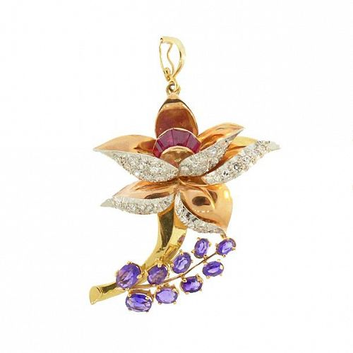 Retro 18K Gold Diamond, Amethyst, Ruby Floral Pendant