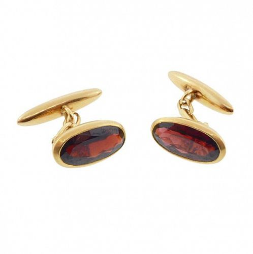 Edwardian 18K Yellow Gold & Almandite Garnet Cufflinks
