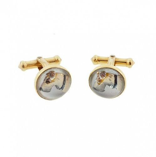 14K Gold Essex Crystal Terrier Dog Cufflinks