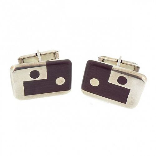 Taxco Mexican Silver & Rosewood Inlay Modernist Cufflinks