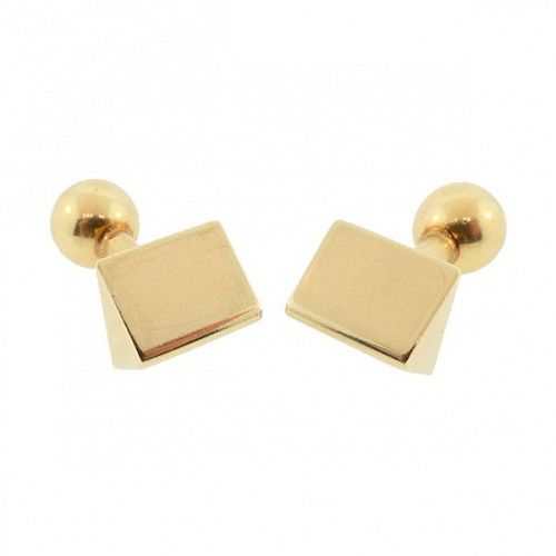 Louis Tamis & Sons Art Deco 14K Gold Barbell Cufflinks