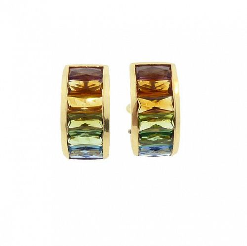 H Stern RAINBOW COLLECTION 18K Gold & Multi Gemstone Earrings