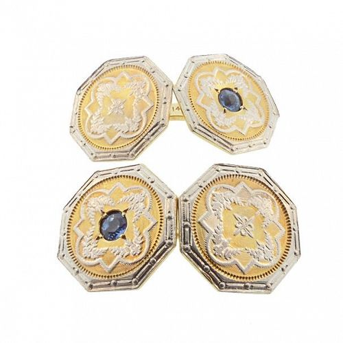 Edwardian 14K Yellow/White Gold Blue Sapphire Engine-Turned Cufflinks