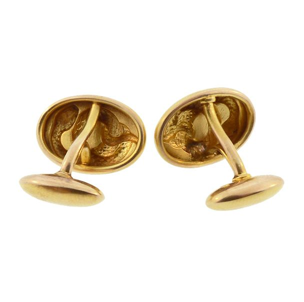 Victorian 14K Gold Snake Cufflinks by H. A. Kirby & Co.