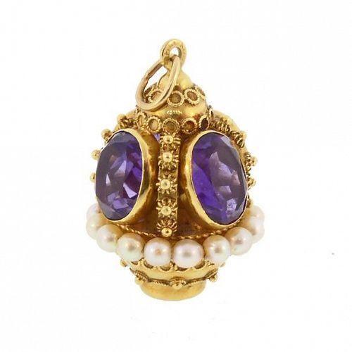 Venetian Etruscan 18K Gold Amethyst & Pearl Fob Charm Pendant