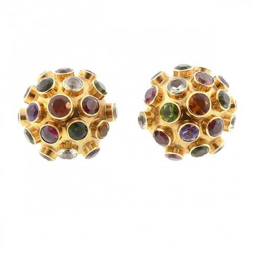H Stern 18K Gold & Multicolored Gemstone Sputnik Earrings