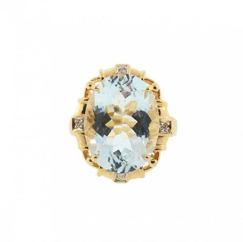 Aquamarine, Diamond & 18K Gold Vintage Cocktail Ring