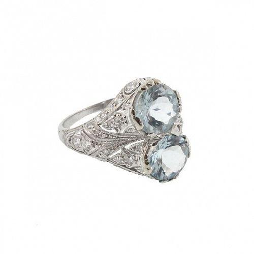 Art Deco Platinum Diamond & Aquamarine Ring
