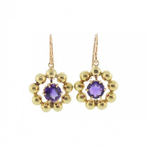 14K Gold & Amethyst Retro Earrings