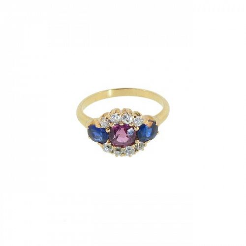 Victorian 14K Gold, Diamond, Red & Blue Spinel Ring