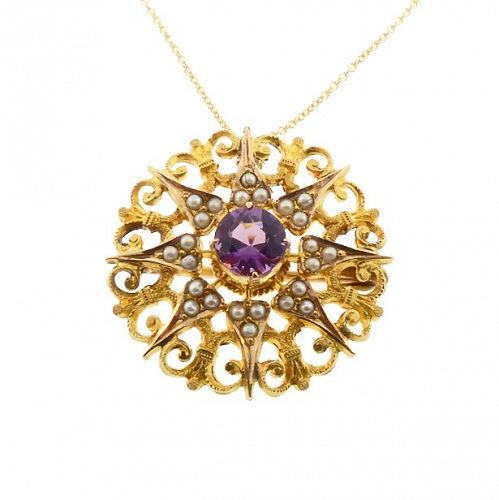 Victorian Gold, Amethyst & Seed Pearl Starburst Pendant / Pin