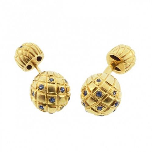 Van Cleef & Arpels 18K Gold Sapphire Barbell Cufflinks