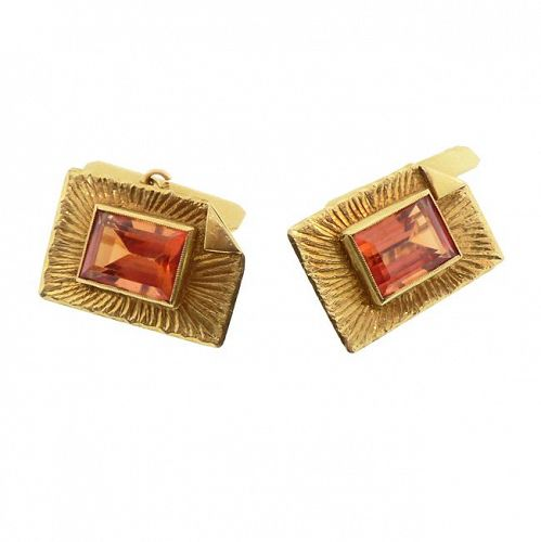 18K Gold & Citrine Vintage Cufflinks
