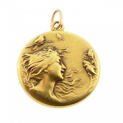 Art Nouveau 14K Gold Lady & Birds Locket