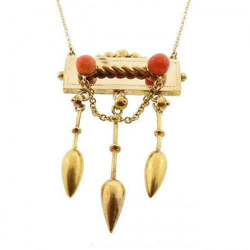 Victorian Etruscan Revival 14K Gold & Coral Pendant Necklace