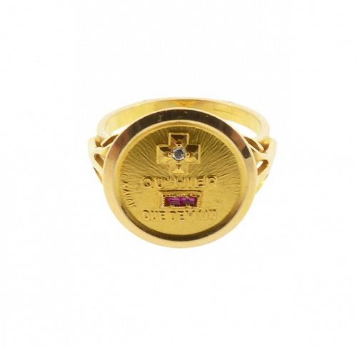 A Augis 18K Gold, Ruby & Diamond PLUS QU�HIER Love Token Ring