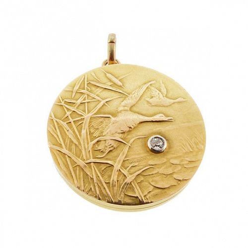 Huguenin Freres 18K Gold & Diamond Duck Hunting Art Nouveau Locket