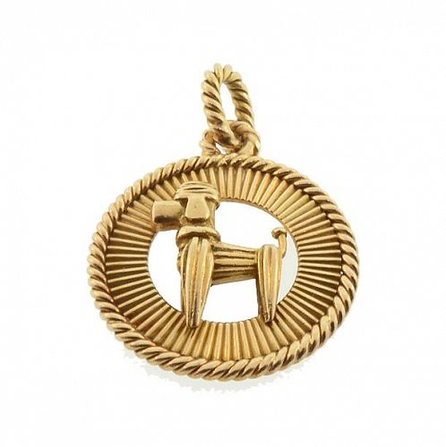French Art Deco 18K Gold Poodle Charm Pendant