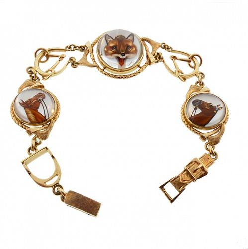 Fox Hunting Essex Crystal 14K Gold Animal Bracelet by Carter Gough