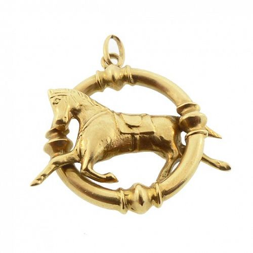 French 18K Gold Dressage Horse Pendant / Charm
