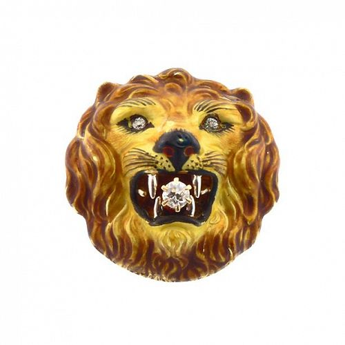 Art Nouveau Diamond & Enamel Lion Watch Pin
