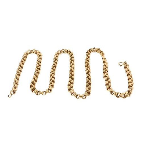 "Victorian 14K Reeded Belcher 22-3/4"" Gold Chain"