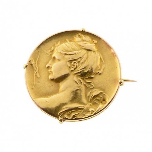 Art Nouveau 18K Gold Goddess Diana Brooch by  Epinay de Briort