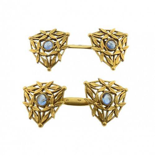 French Art Nouveau 18K Gold & Sapphire Cufflinks