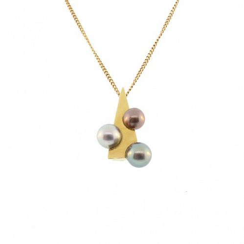 18K Gold & Colored Tahitian Pearl Modernist Pendant