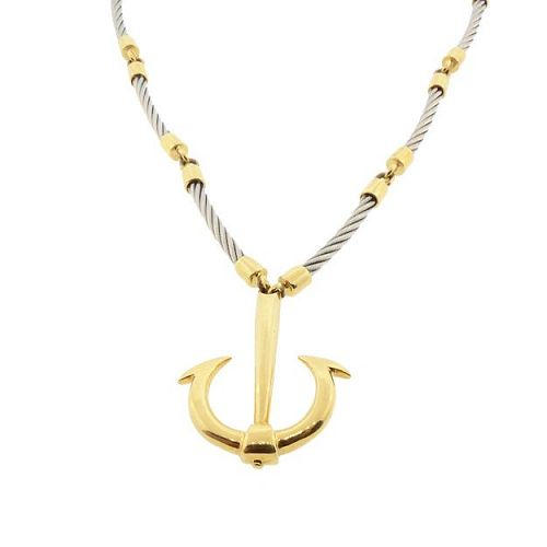 UnoAErre FLAVIA 18K Gold & Steel Anchor Pendant Necklace