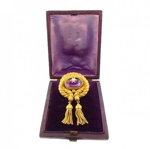 Victorian 18K Gold Amethyst Pearl Love Knot Tassel Hair Locket Brooch